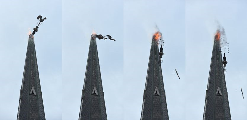 Guelph church fire caused by lightning strike investigators a metal rooster at the top of the steeple of st andrews presbyterian church in guelph falls to the grass below in this series of photos taken on tuesday altavistaventures Image collections