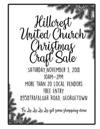 Christmas Craft Show Flyer.Hillcrest United Church Christmas Craft Show On November 03