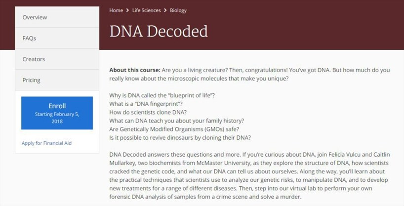 Mcmaster offers online course for the world thespec the course description of dna decoded at coursera coursera malvernweather Image collections