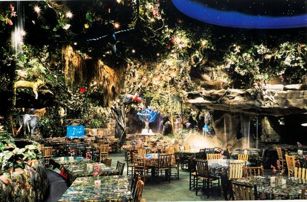 Rainforest Cafe at Disney's Animal Kingdom theme park serves American cuisine for breakfast, lunch and dinner in a jungle oasis teeming with wild animals.