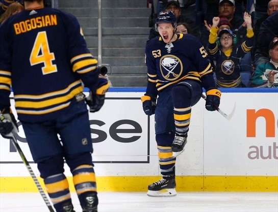 df35ecb1d Sabres forward Jeff Skinner celebrates his goal during the third period of  an NHL game against the Anaheim Ducks on Dec. 22