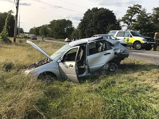 Three vehicle collision on Highway 38 south of Unity Road