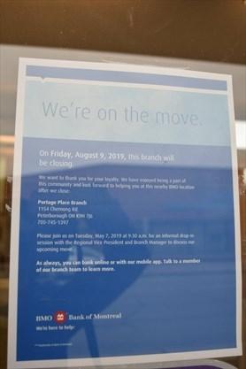 Downtown Peterborough BMO branch closing Aug  9