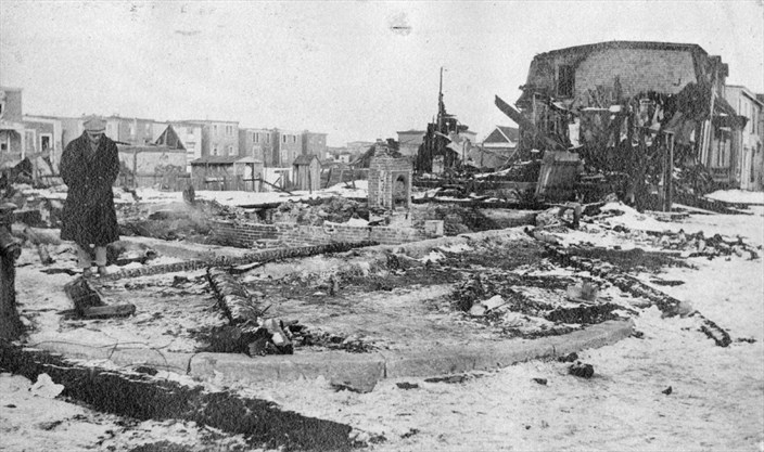 A Man Looks At Damage Created By The Halifax Explosion In This Image Provided Marine History Collection Of Nova Scotia Museum