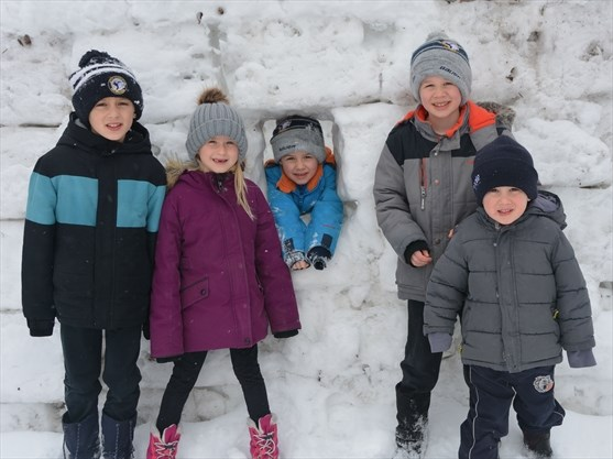 Igloo-style snow fort created by young family in New Hamburg