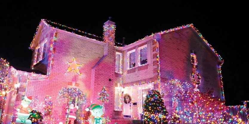 Pink Christmas Lights.Whitby Couple Uses Christmas Decorations To Shine Light On