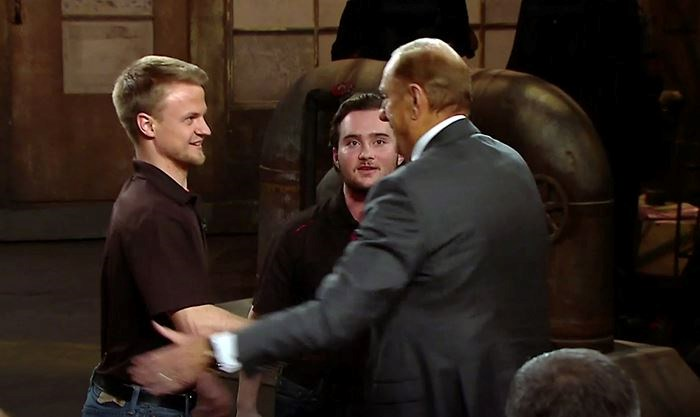 722b9604 University of Guelph students Matt McCoy, left, and Mike Sutton get  handshakes from dragon Jim Treliving during the Dragons' Den episode seen  on Thursday ...