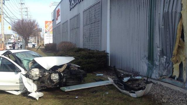 Car Destroyed Driver Injured After Crashing Into Real Canadian Superstore
