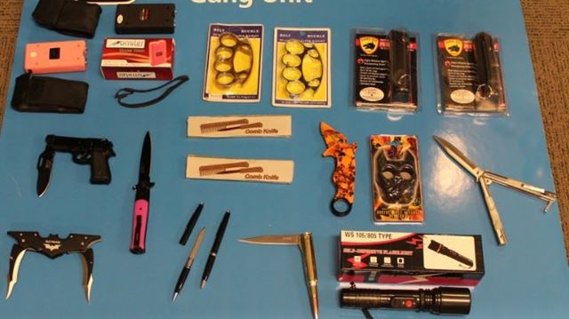 Police seize brass knuckles, switchblades and push daggers