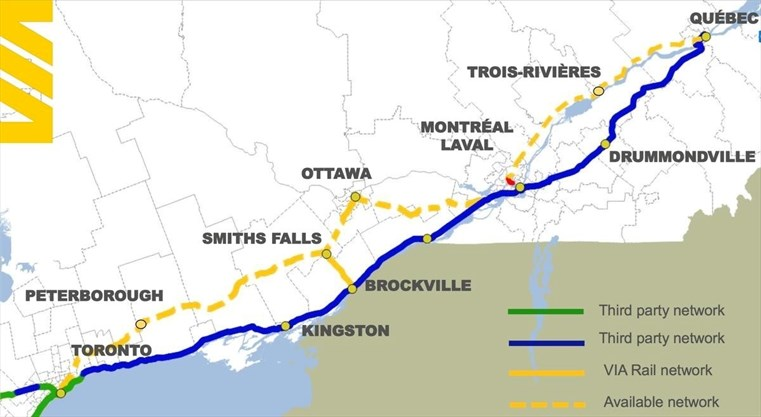 High-frequency Via Rail trains best for Toronto-Montreal leg ... on canada skytrain map, canada map major cities, canada ferries map, rail lines map, canada study map, national railroad map, canada flag map, via rail map, canada street map, canada lighthouse map, canada driving map, canada town map, canada tourist map, canadian national map, canada train tours, canada rail system map, canada track map, canadian pacific map, canada bus route map, canada pipeline map,