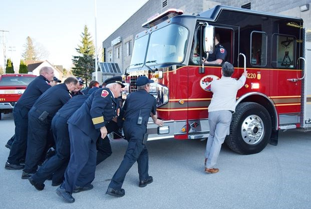 New pumper truck joins owfc fleet pushing in ceremony