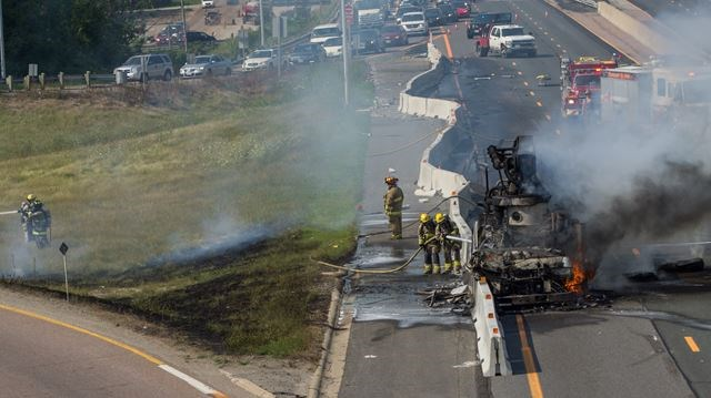 UPDATED: Truck bursts into flames along Hwy  400 in King