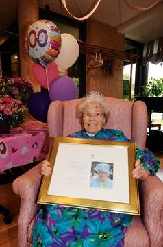 among the many congratulatory gifts that the now 100 year old bennett health care centre resident edith allen received was a framed letter from queen