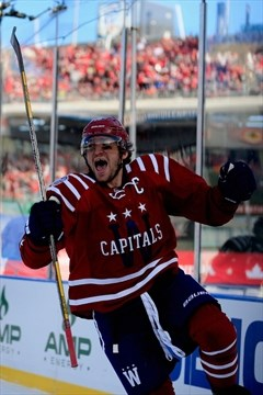 65c10b971 Alex Ovechkin of the Capitals celebrates after scoring in the first period  of the 2015 NHL Winter Classic against the Chicago Blackhawks at Nationals  Park ...