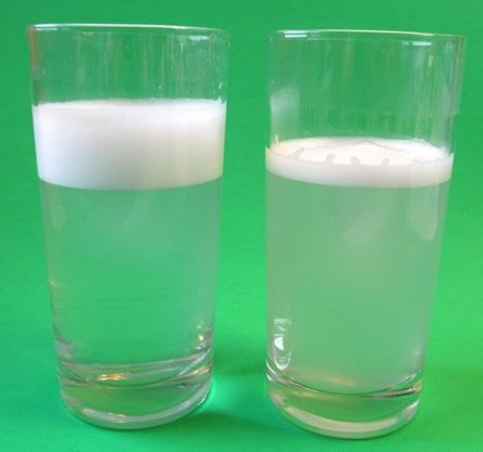 Left Contains Distilled Water With Liquid Soap And Right Shows The Effect Hard Can Have On