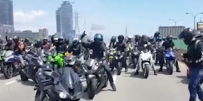 A congregation of motorcyclists on Gardiner Expressway. - OPP Video