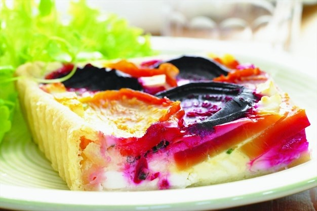 This beet and feta quiche is delicious served hot or cold
