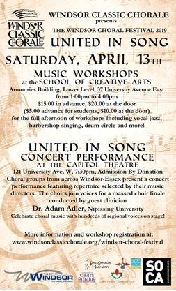 Windsor Choral Festival 2019 United In Song on April 13,2019