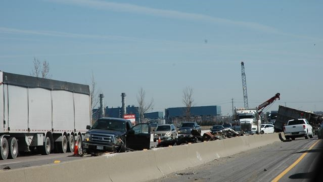 VIDEO: Truck rollover on Hwy  401 snarls traffic through Milton