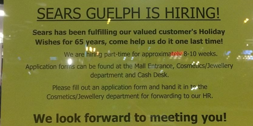 Help wanted at Sears Guelph, apply within   GuelphMercury.com